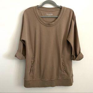 Soft Surroundings Brown Ruffle Sweatshirt